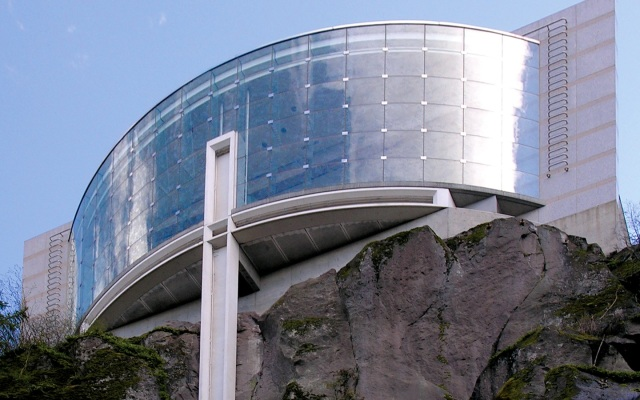 Cliff-side glass face of the Meditation Chapel